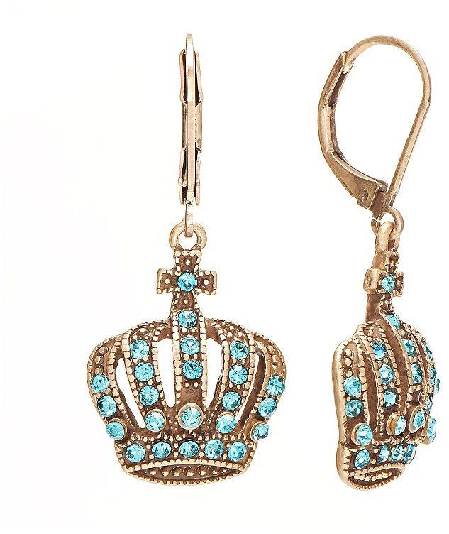 Rock & Republic Rock and republic gold tone simulated crystal crown drop earrings