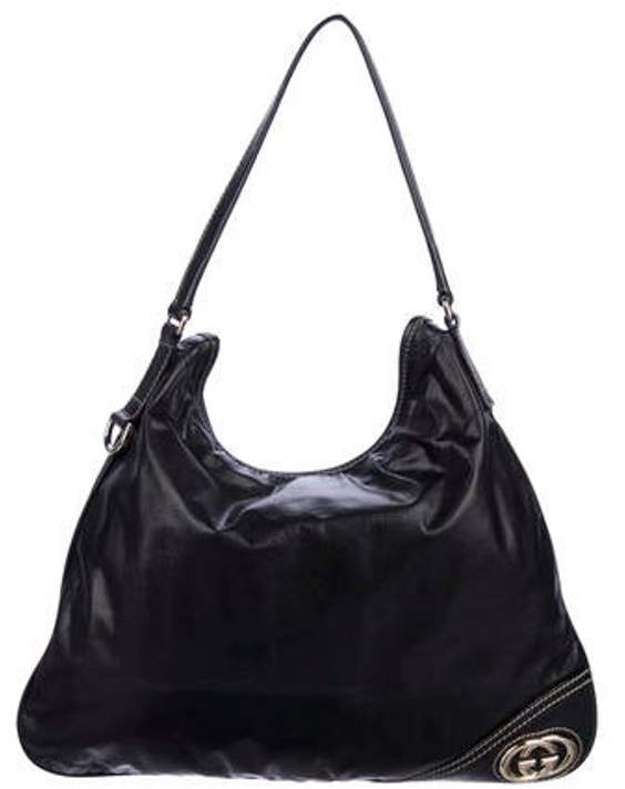 Gucci Leather New Britt Hobo Black Leather New Britt Hobo