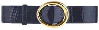 Oscar de la Renta Navy Small Oval Alligator Waist Belt