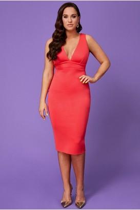 Linzi Goddiva Vicky Pattison Hot Pink Back Strap Detailed Midi Dress