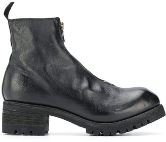 Guidi Creased Leather Ankle Boots