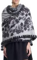 Gorski Floral & Cheetah Print Cashmere Stole w/ Fur Trim. Gray Pattern