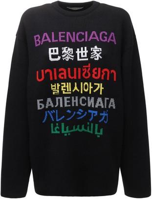 Balenciaga Languages Jacquard Wool Knit Sweater