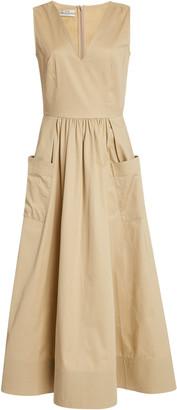 Co Pleated Cotton-Sateen Midi Dress