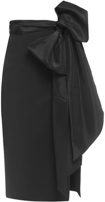 Cliché Reborn High Waisted Side Slit Pencil Skirt With Bow Belt