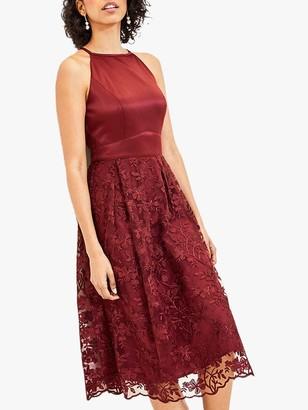 Oasis Satin Bodice Lace Midi Bridesmaid Dress