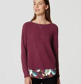 LOFT Floral Mixed Media Shirttail Sweater