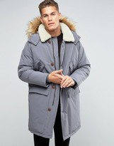 Asos Parka Jacket With Fleece Collar In Gray