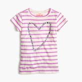 J.Crew Girls' gem heart striped T-shirt