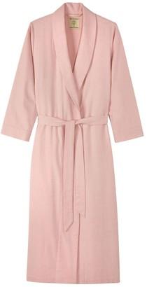 British Boxers Women's Powder Pink Herringbone Dressing Gown