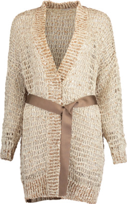 Brunello Cucinelli Woven Wax Cotton Belted Open Cardigan