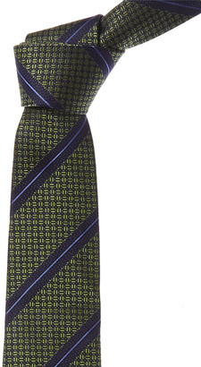 Canali Green & Blue Stripes Silk Tie