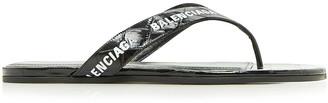 Balenciaga Round Thong Sandals in Black & White | FWRD