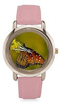 Butterfly Watch Custom Beautiful Butterfly with the Flower Women's Rose Gold Leather Strap Watch