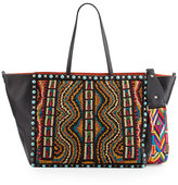 Valentino Rockstud Rolling Medium Beaded Tote Bag, Black/Multi