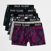 River Island Mens Green palm print trunks multipack