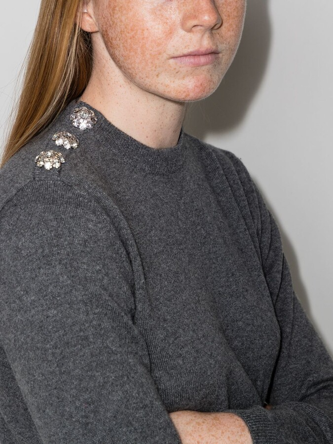 Thumbnail for your product : Ganni Grey Crystal Buttoned Cashmere Sweater
