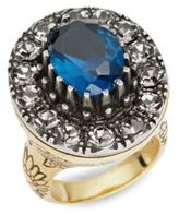 Alexander McQueen Ornately Etched Glass Crystal Ring