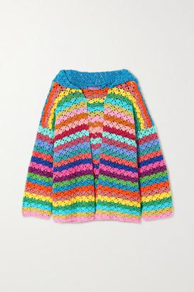 Rose Carmine Hooded Metallic Striped Crocheted Cardigan - Pink