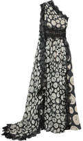 Naeem Khan One-shoulder Lace-trimmed Printed Silk-chiffon Gown - Black