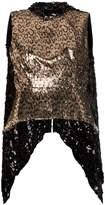 Halpern leopard sequin open back top