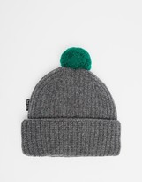 Paul Smith Wool Bobble Beanie Hat - Grey