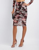 Charlotte Russe Floral Mesh Pencil Skirt