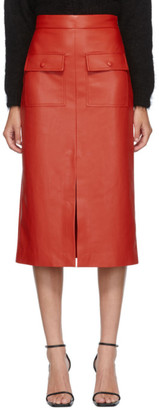 MSGM Red Faux-Leather Pocket Skirt