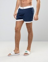 Asos Swim Shorts In Navy With Fixed Waistband In Mid Length