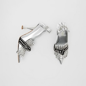 Burberry Crystal Kiltie Fringe Metallic Leather Point-toe Pumps