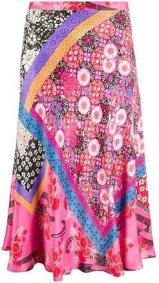Pinko Floral-Print Slip Skirt