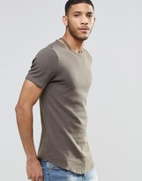 Asos Longline Muscle T-Shirt In Waffle With Curved Hem And Disconnected Neck In Khaki