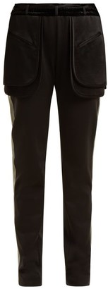 Valentino Exposed Pocket Silk Blend Trousers - Womens - Black Green