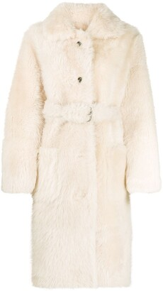 Liska Belted Shearling Coat