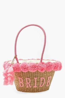 boohoo Bride Straw & Pom Pom Large Beach Bag