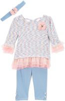 Peach & Blue Ruffle Tunic Set - Infant & Toddler