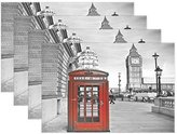 "WOZO London Big Ben Vintage Placemat Table Mat, Red Telephone Box England 12"" x 18"" Polyester Table Place Mat for Kitchen Dining Room Set of 6"