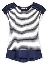 Speechless Lace-Trimmed Striped Top - Girls 4-16