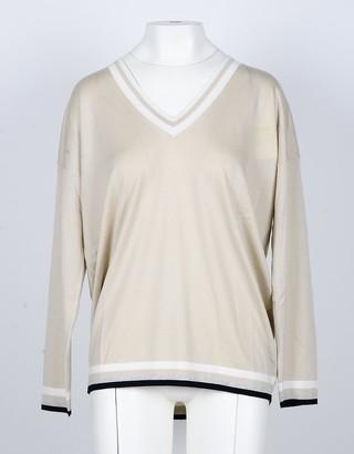 Lamberto Losani Cashmere, Silk and Viscose Blend Beige Women's V-Neck Sweater
