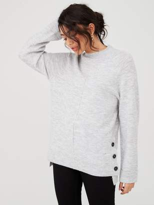 Very Button Side Cuff And Hem Jumper - Grey Marl