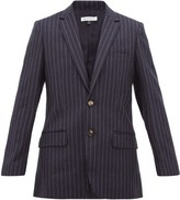 Bella Freud Allen Chalk-striped Single-breasted Wool Blazer - Womens - Navy Stripe