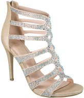 De Blossom Collection Macy-41 Rhinestone Embellished Strappy Cage Style High Heel Dress Sandal Nude 7