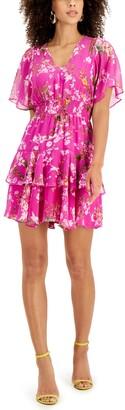 Taylor Petite Floral-Print Blouson Dress
