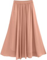 Feoya Women Chiffon Solid Skirt Elastic Pleated Maxi Long Beach Skirt