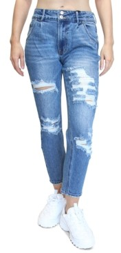 Almost Famous Juniors' Destructed Double Button High-Rise Mom Jeans