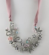 Jessica McClintock Silvertone and Mauve Ribbon Torque Necklace - Pink and Moonstone Accents