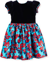 Oscar de la Renta Wild Rose-Print Mikado Dress, Blue Pattern, Size 2-6