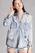 Forever 21 FOREVER 21+ Oversized Distressed Denim Shirt