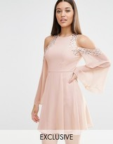 Lipsy Cold Shoulder Embellished Swing Dress