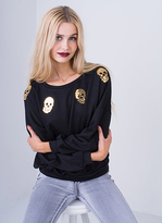 Missy Empire Priya Black Sequin Skull Print Sweatshirt